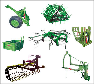 Implements, accessories and agricultural machinery of all types