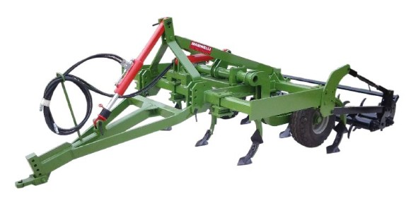 Chisel semi-mounted cultivator for crawler tractors